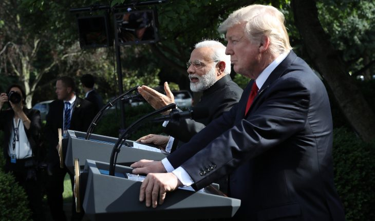 Narendra Modi And Donald Trump Speaking In A Press Meet.