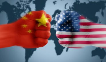 Flags Of USA & China On Punch - US-China Trade War Concept.