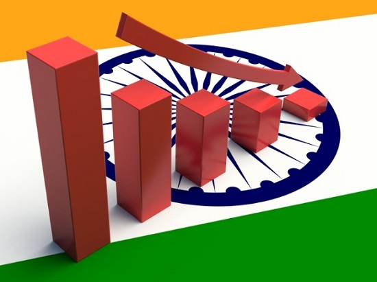 Growth Of India In The Background Of Indian Flag.