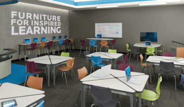 School library With Empty Seating Area In The Foreground With The Text Of Furniture For Inspired Learning Background.