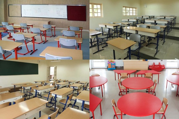 Multiple Images Of Classroom Interior With Empty Benches, Desks & Chairs.